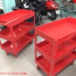 xe đẩy dụng cụ 3 ngăn màu đỏ