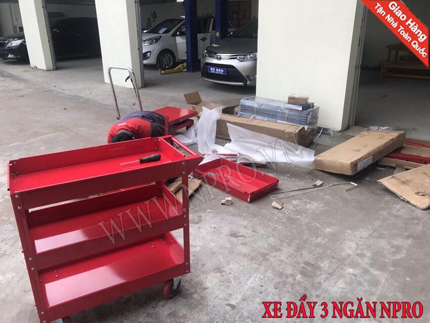 xe đẩy đựng đồ nghề sửa xe  - xe đẩy đồ nghề 3 ngăn