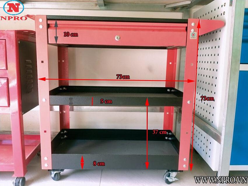 xe đẩy đựng đồ nghề 3 ngăn 1 ngăn kéo